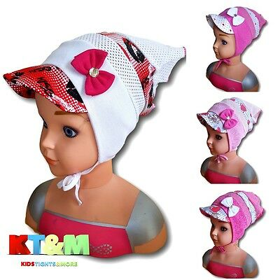 Baby Girl Summer Cotton Blend Beach Holiday Hat Cap Head Scarf  6-12 Months Bow