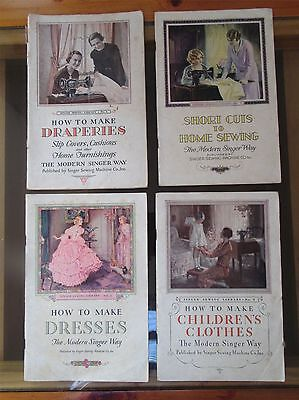 4 Singer Sewing Machine Vintage 1930's booklets - Collectable.