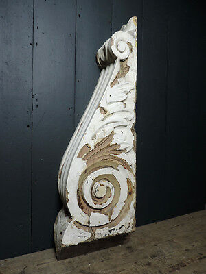 Large Mid Victorian Painted Acanthus Corbel Carved Scroll Architectural Antique