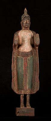 Antique Khmer Style Wood Standing Protection Monday Buddha Statue - 65cm/26""