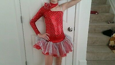 Red sassy  tutu jazz tap dance recital pageant competition costume large child