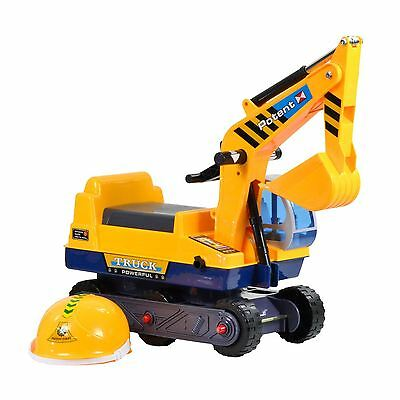 Kids Toddler Ride On Push Along Digger - Yellow