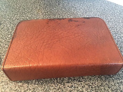 Vintage Gents Brown Leather Travel Vanity Shaving Kit Brushs Mirrors Containers