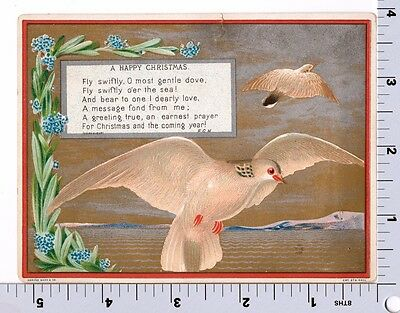 Victorian Christmas Card | Doves Fly Swiftly | Marcus Ward Co | Silvered Gilded