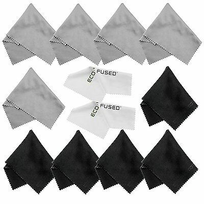 Microfiber Cleaning Cloths - 10 Colorful Cloths and 2 White ECO-FUSED Cloths