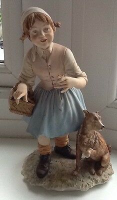 Capodimonte Figurine Vintage Girl With Dog Signed Very Good Condition Quality