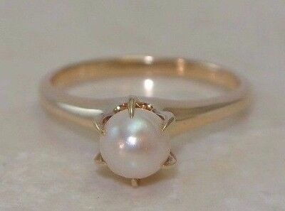 Vintage PEARL RING set in 14K Yellow Gold 5.5mm Round Authentic Size 6