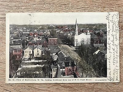 View of Martinsburg WV West Virginia From Court House, Antique UDB 1907 Postcard