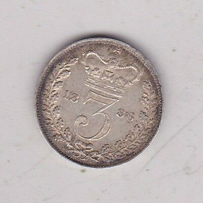 1886 Victorian Silver Three Pence In Extremely Fine Condition