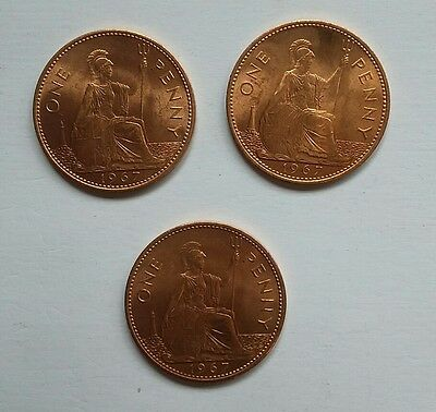 3 x 1967 Queen Elizabeth II Penny Coin  Bronze  Uncirculated with full Lustre