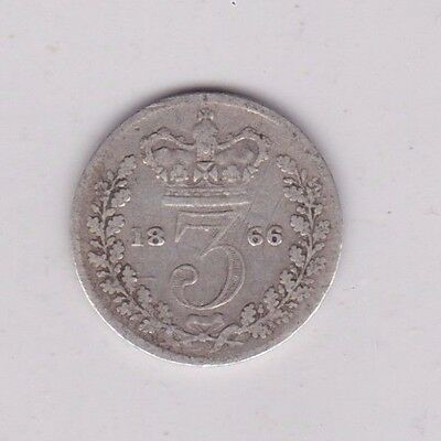 1866 Victorian Silver Three Pence In Used Fine Condition