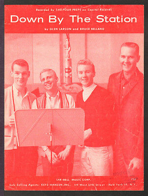 Down By The Station 1960 THE FOUR PREPS Vintage Sheet Music