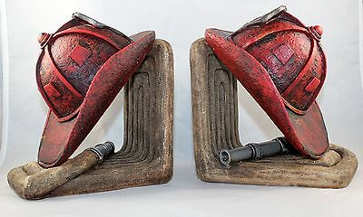 Firefighter Hose and Helmet Bookends - Fireman Firemen Book Ends