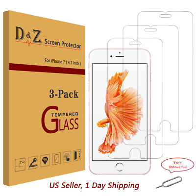 """3PK Premium Real Tempered Glass Film Screen Protector for Apple (4.7"""") iPhone 7"""