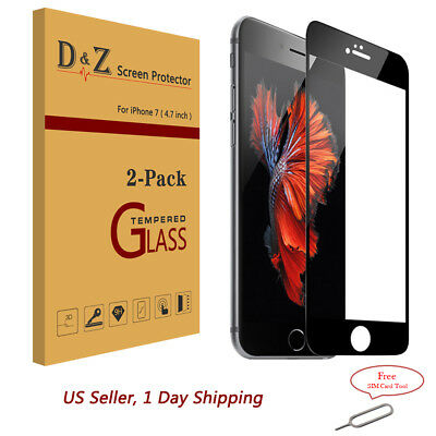 2PACK 3D Full Coverage 9H Tempered Glass Film Screen Protector for iPhone 7 4.7""