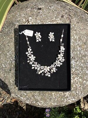 Wedding Jewellery Set - Fresh Water Pearl & Crystal Necklace And Earrings