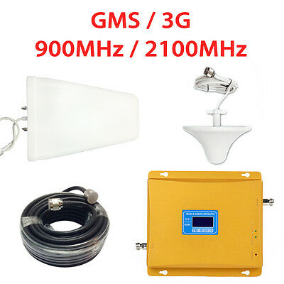 Repetidor Dual GSM 3G Antena PANEL Amplificador 900MHz /2100MHz Full Kit Booster