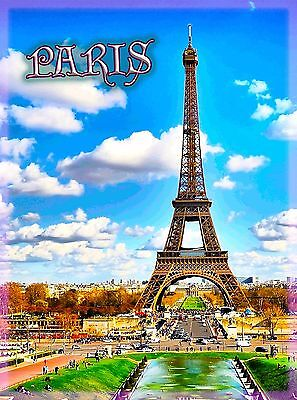 Paris Eiffel Tower Scenic French Europe European Travel Advertisement Poster