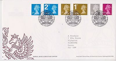 GB ROYAL MAIL FDC FIRST DAY COVER 2009 50p-£1 & NVI's MACHIN DEFINITIVES TALLENT