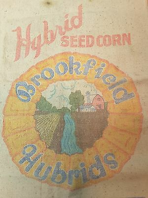 Vintage Hybrid Seed Corn Cloth Bag Sack ~ Brookfield Seed Co Hector Minn- Fulton