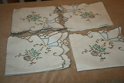 "Vintage Madeira? (4) Embroidered Napkins 13"" X 13"""