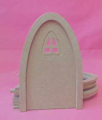 5x 4mm Thick MDF Arched window fairy door craft blank