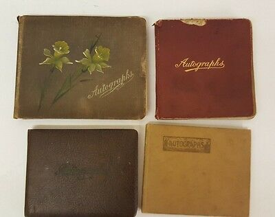 Four Original Vintage Autograph Sketch Book Albums With Pictures & Poems