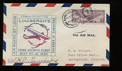US Flight Event Cover Signed by Pilot Lindbergh 3rd Anniversary 1930 St Louis MO