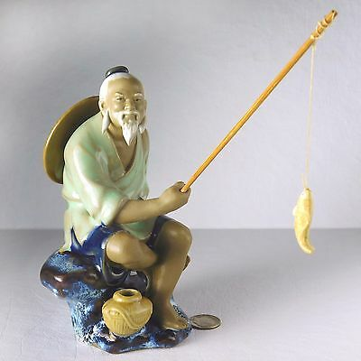 Excellent, Vintage Chinese Mudman Fisherman with Pole & Fish