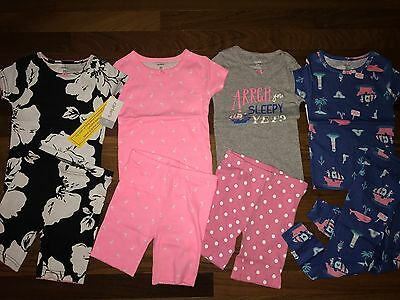 NWT Girls 2T CARTER'S 8 Piece Pajama Lot 4 Sets CUTE ~ L@@K!