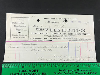 Morristown NJ Antique Ad Receipt Auto Car Bicycle Electric Charging Station