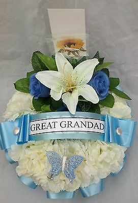 Artificial Silk Funeral Flowers Faux Wreath Ring Tribute Memorial Fathers Day