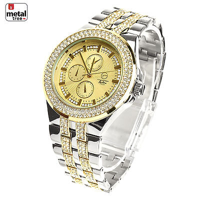 Men's Luxury Gold & Silver Plated Metal Band Bling Iced Out Watches WM 8324 TT