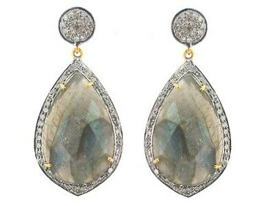 New Labradorite 925 Sterling Silver Pave 1.5Ct Diamond Earrings 14K Gold Jewelry