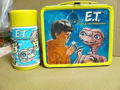 Vintage 1982 E.T - The Extra-Terrestrial Metal Lunch Box With Thermos -Very Nice