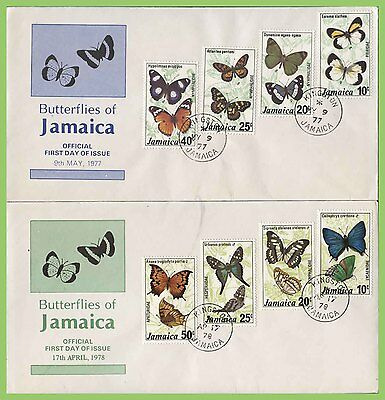 Jamaica 1977/78 Butterflies sets on two First Day Covers
