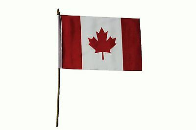 """CANADA Country 6"""" X 9"""" Inch STICK FLAG With 13.5"""" Inch PLASTIC POLE .. NEW"""