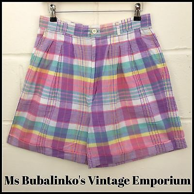 Vintage 90s High Waist Pastel Checked Cotton Shorts Size 12 Ibiza Festival
