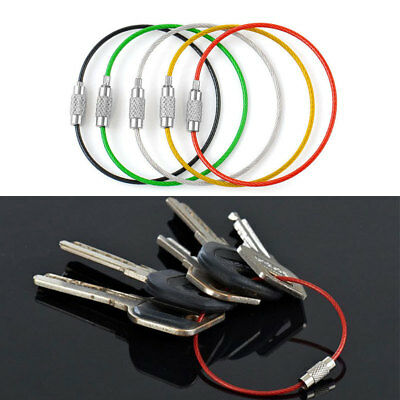 Lot 5pcs Stainless Steel Keychain Cable Wire Key Chain Rings Twist Screw Locking