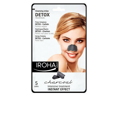 Cosmética Iroha mujer DETOX CHARCOAL BLACK nose strips 5 uds