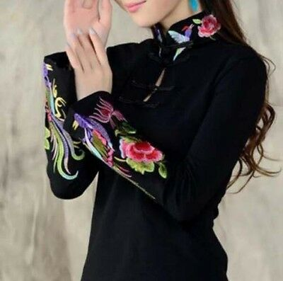 Chinese Style Womens Floral Embroidery Long Short Sleeve Top Blouse T-Shirt Free