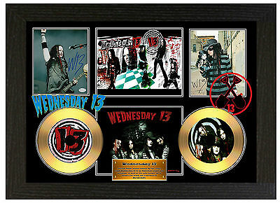 Wednesday 13 - A3 Signed Framed Gold Vinyl Collectors Cd Display Picture