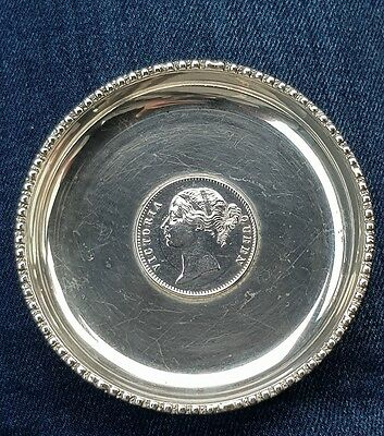 Beautiful Antique Solid Silver Victorian One Rupee Coin Trinket Dish