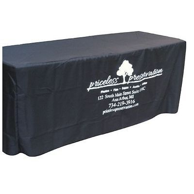 8' Fitted Polyester Table Cloth - Black with Custom Printed Logo for Businesses