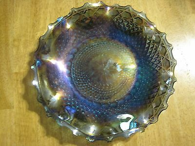 Carnival Glass, Blue Ruffled Serving Plate, Indiana Glass, Vintage, Euc