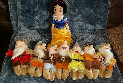 Disney SNOW WHITE & The SEVEN 7 DWARFS COMPLETE SET soft plush