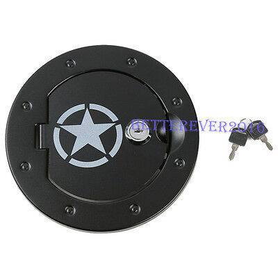 fits 2007-18 Jeep Wrangler Front Face Style Black Gas Tank Cap Fuel Filler Cover