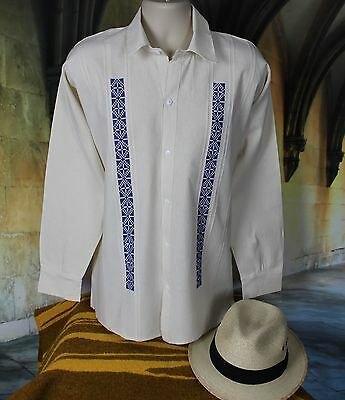 Blue & Cream Men's Guayabera Shirt Hand Embroidered from Ejutla Oaxaca Mexico