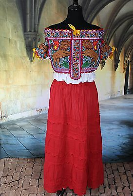 Lions & Tigers, Hand Embroidered Juquila Blouse Oaxaca Mexican Romantic Fiesta