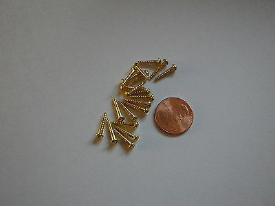 """20 #2 1/2""""  SLOTTED BRASS WOOD SCREWS w/ ROUND HEAD FOR ANTIQUE CLOCK REPAIR"""